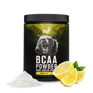 nu3 – BCAA en poudre   400g   goût citron   Rapport optimal d'acides aminés 2: 1: 1   Complément pour un boost supplémentaire en énergie ou perte de poids   Vegan
