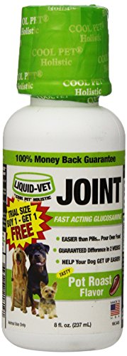 Liquid-Vet by COOL PET Holistics LiquidVet formule mixte Fast Acting Glucosamine aide conjointe en Canines rôti saveur Trial taille, Buy 1 Get 1 Free 8 onces liquides