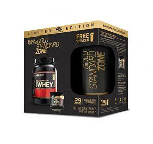 Optimum Nutrition Protéine 100% Whey Gold Standard Chocolat 908 g avec Gold Standard Pre-Workout Fruit Punch 88g avec SHAKER OFFERT