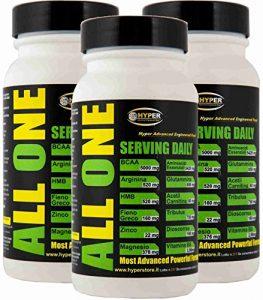 Acides aminés essentiels BCAA   3 paquets de 200 cpr 260 gr   avec: glutamine arginine HMB Acétyl Carnitine Tribulus Dioscorrea Fenugrec ZMA   Force de récupération musculaire   ALL ONE