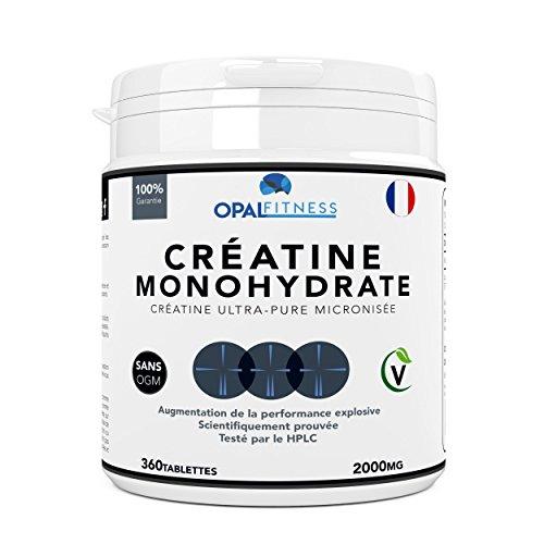 Créatine Complément Alimentaire par Opal Fitness | Comprimés de créatine de monohydrate | Augmentation de la puissance, de la performance explosive et de la masse musculaire maigre