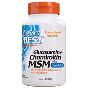 Doctor's Best | Glucosamine chondroïtine MSM avec OptiMSM | 360 gélules végétales | sans gluten | sans soja