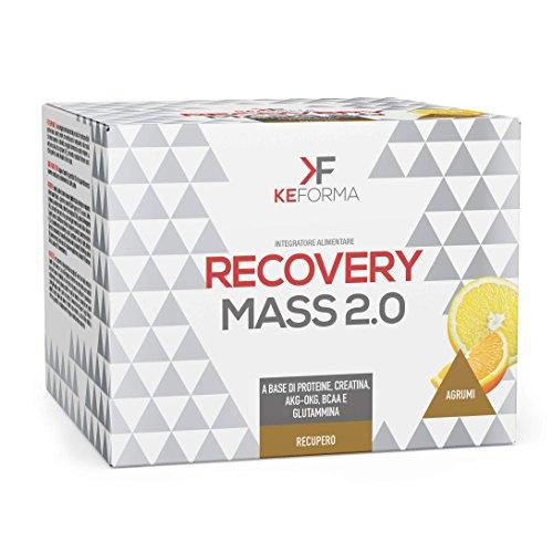 Ke Forma – Recovery Mass 2.0 – Créatine, glutamine OKG, AKG, BCAA, Protéines Optipep, Vitamines et hydrates de Carbone