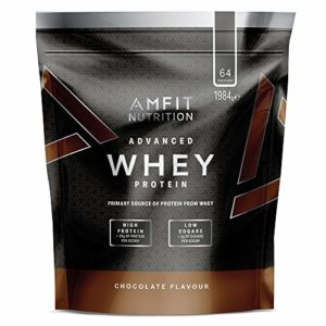 Marque Amazon – Amfit Nutrition Advanced Whey protéine de lactosérum saveur chocolat, 64 portions, 1980 g
