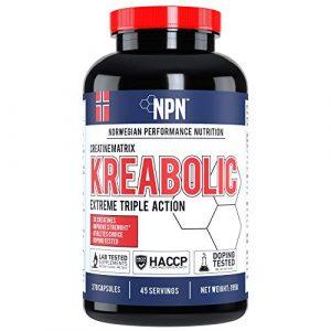 NPN Krea-Bolic | Mélange de créatine triple pour une force explosive | Renforcement de la force et du volume musculaire | 45 portions | 270 gélules