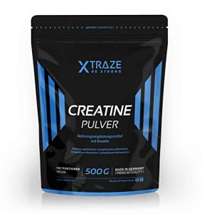 XTRAZE® Créatine Monohydrate en poudre 500 g, Créatine végétalienne 100% naturelle, Qualité de fabrication Allemande, pour l'entraînement musculaire, Musculation, Fitness