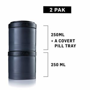 BlenderBottle ProStak Expansion Pak – 3 Pak Récipient (250ml, 150ml et 100ml) + Compartiment à Pilules Noir