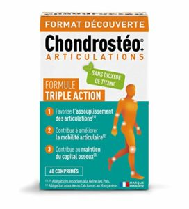Chondrostéo+ articulations – 40 comprimés = 13 jours Glucosamine, Chondroïtine, MSM, Harpagophytum, Reine des Prés, Bambou [Silicium] Triple action : mobilité & souplesse articulaire, capital osseux