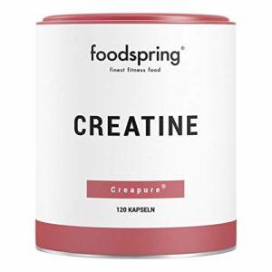 foodspring Gélules de Créatine, 120 gélules, Accélère le développement musculaire, Fabriqué en Allemagne