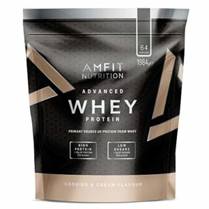 Marque Amazon – Amfit Nutrition Advanced Whey protéine de lactosérum saveur Cookies & Cream, 64 portions, 1980 g