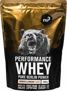 nu3 – Whey Protéines Performance / 1kg / Cookies & Cream / Proteine destinée à la prise de masse musculaire / Excellente solubilité et délicieuse saveur cookies / Haute teneur en proteines