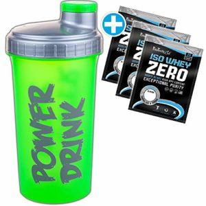 BioTech USA Iso Whey Zero Protein Isolat 3 x / 6 x / 9 x 25 g Mix + Gratis C.P. Sports Eiweiß Shaker pour poudre protéinée, shake, poudre, shake, sans sucre