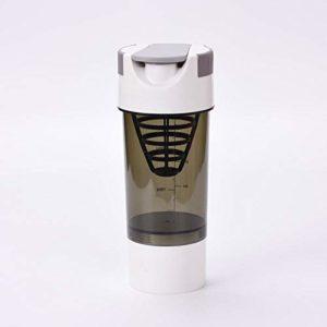 Fitness shaker portable whey protein shake bottle lait café protéine poudre mixte bouteille de sport pour gym exercice et voyage-Blanc
