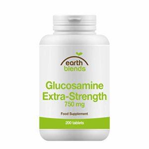Earth Blends – Sulfate de glucosamine concentré 750mg, santé des articulations, 200capsules, pour adultes