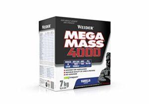 WEIDER Mega Mass 4000, Vanille Milkshake Gainer avec de la Créatine et de la Protéine, Bodybuilding/Fitness, 7kg