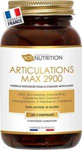 Articulations MAX2900-150 comprimés – Glucosamine 1000mg Chondroïtine 900mg MSM 500mg Curcuma 350mg Acide Hyaluronique 80mg Harpagophytum 60mg (6/j) – Fabriqué en France – Articulations douloureuses