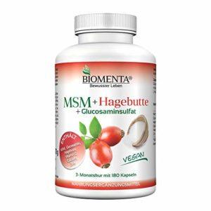 BIOMENTA MSM GLUCOSAMINE + Rose musquée | avec MSM (methylsulfonylmethane) + Glucosamine Sulphate (Glucosa Green®) + Rose musquée + Vitamine C + Zinc + Calcium | pendant troix de mois | 180 vegetalien MSM-Gelules