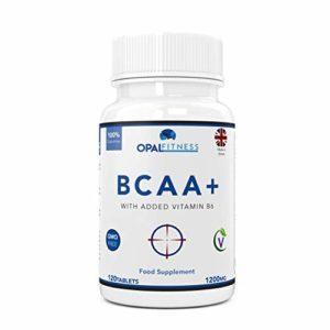 Comprimés de BCAA, 1200mg d'acides aminés à chaîne ramifiée par Opal Fitness Nutrition – BCAA+ avec vitamine B6 – certifié GMP – Convient aux hommes et aux femmes – 120 comprimés
