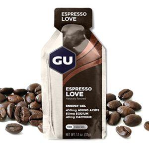 GU ENERGY GEL – Café – Boîte de 24 gels – Gel énergétique – Sodium – BCAA – Idéal pendant l'effort 100Kcal