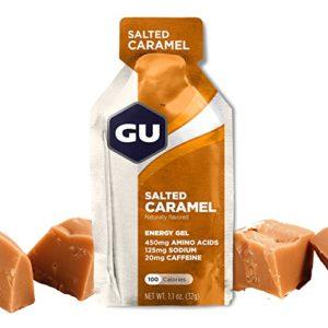 GU ENERGY GEL – Caramel Salé – Boîte de 24 gels – Gel énergétique – Sodium – BCAA – Idéal pendant l'effort 100Kcal