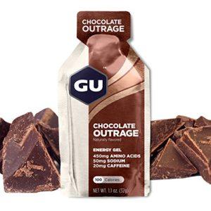 GU ENERGY GEL – Chocolat – Boîte de 24 gels – Gel énergétique – Sodium – BCAA – Idéal pendant l'effort 100Kcal