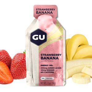 GU ENERGY GEL – Fraise/Banane – Boîte de 24 gels – Gel énergétique – Sodium – BCAA – Idéal pendant l'effort 100Kcal