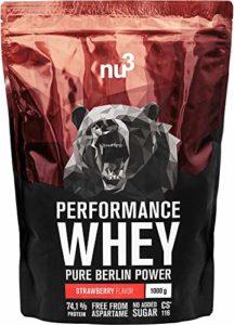 nu3 Whey Protéines Performance – 1kg Fraise – Shake pour prise de masse musculaire rapide à préparer – Excellente solution et délicieux goût fraise – Riche en protéines naturelles