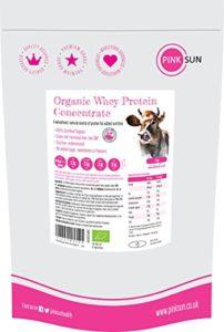 PINK SUN Organic Whey 1kg (ou 420g) Bio Poudre de Concentré de Protéines de Lactosérum Aromatisée Pas de Soja Sans Gluten Végétarien Protein Concentrate Unflavoured 1000g