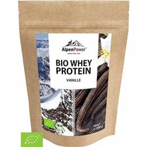 ALPENPOWER | BIO WHEY Protéine Vanille | Sans additives | Ingrédients 100% naturels | Lait biologique de vaches alpines | Vraie vanille | Poudre de protéines de haute qualité | 500 g