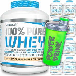 BioTech USA – 100% Pure Whey – Sachet de 454 g + C.P. Sports Shaker Gratif/Protéines Multi-Composants/Protéines/Caseine/Isolat/Protéines Concentré (Caramel Cappuccino )