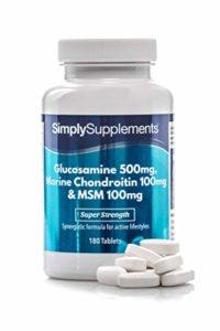 Glucosamine, Chondroïtine & MSM | Partenaires parfaits de la Glucosamine | 360 Comprimés |Jusqu'à 4 mois de bienfaits | SimplySupplements