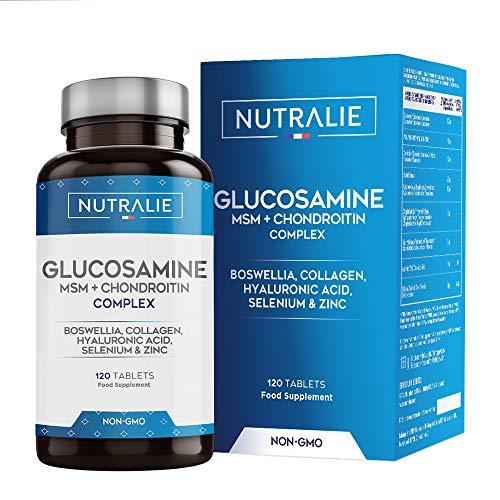 Glucosamine, Chondroïtine, MSM et Collagène | Maintenir des Os Normaux avec la Glucosamine, Chondroitin, le MSM, Collagène, Acide Hyaluronique, Boswellia, Sélénium, Zinc | 120 Comprimés Nutralie