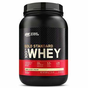 Optimum Nutrition Gold Standard 100% Whey Protéine en Poudre avec Whey Isolate, Proteines Musculation Prise de Masse, Vanille Crème Glacée, 30 Portions, 0.9kg, , l'Emballage Peut Varier