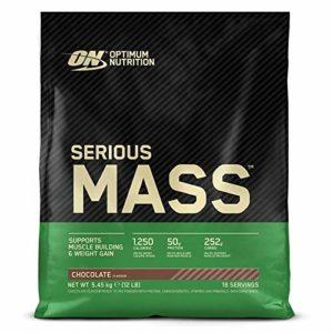 Optimum Nutrition Serious Mass, Mass Gainer avec Whey protéine, Proteines Musculation Prise de Masse avec Vitamines, Creatine et Glutamine, Chocolat, 16 Portions, 5,45 kg