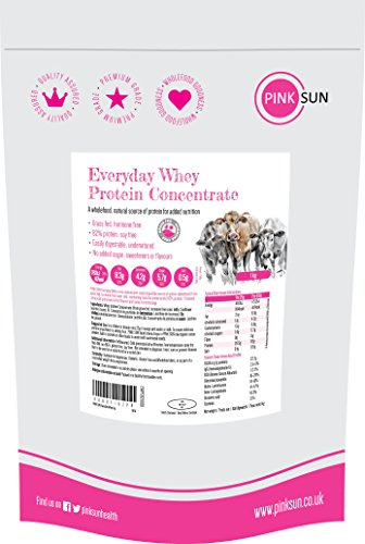 PINK SUN Everyday Whey 1kg Poudre de Concentré de Protéines de Lactosérum sans Hormone Alimentée à l'Herbe Non Aromatisée Pas de Soja Sans Gluten Végétarien Protein Concentrate Unflavoured 1000g