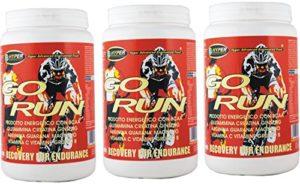 Suppléments Cyclisme MTB Énergie puissante GO RUN gr 1000 3 BOX avec acides aminés ramifiés BCAA de la glutamine créatine Arginine Ginseng Guarana Maltodextrine Fructose Dextrose Bêta Alanine