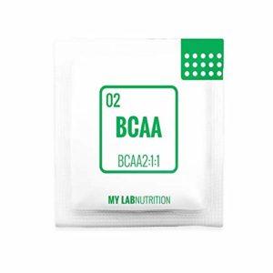 BCAA 2: 1: 1 2500 mg. 48 sachets de poudre. Vegan sans lactose et sans gluten. Complément alimentaire d'acides aminés ramifiés. Saveur d'orange – MyLab Nutrition
