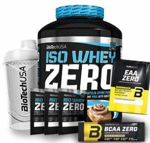 Biotech USA Iso Whey Zero (1 x 2.27 kg) + Shaker gratuits + Échantillons gratuits + acides aminés (Brioche à la cannelle)