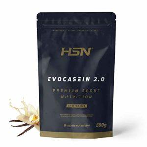 Caséine Micellaire de HSNsports – Evocasein 2.0 – Protéine pour Avant Dormir – Libération Prolongée pendant le soir – En Poudre – Saveur Vanille – 500g