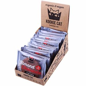 Kookie Cat Almond and Chocolate Individually Wrapped Vegan Cookies, Gluten Free, Soy Free, Bio and Organic, Almond & Oat, 12 X 50g in A Box