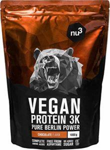 nu3 – Protéines Vegan 3K | 1kg | Poudre Chocolat | 70% de protéines à base de 3 composants végétaux | Protéine végétale destinée à la prise de masse musculaire | Excellente alternative à la whey protein