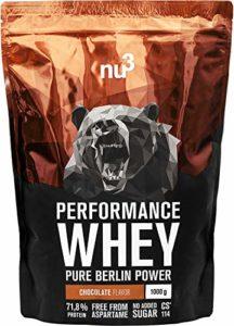 nu3 – Whey Protéines Performance / 1kg / Chocolat / Proteine destinée à la prise de masse musculaire / Excellente solubilité et délicieuse saveur chocolat / Haute teneur en proteines