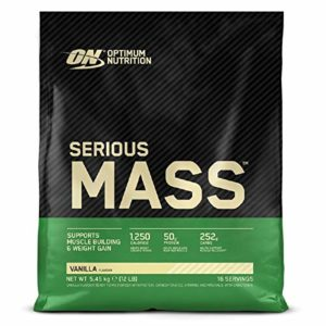 Optimum Nutrition Serious Mass, Mass Gainer avec Whey, Proteines Musculation Prise de Masse avec Vitamines, Creatine et Glutamine, Vanille, 16 Portions, 5.45kg, l'Emballage Peut Varier