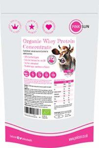 PINK SUN Organic Whey 420g (ou 1 kg) Bio Poudre de Concentré de Protéines de Lactosérum Aromatisée Pas de Soja Sans Gluten Végétarien Protein Concentrate Unflavoured