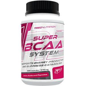 Trec Nutrition – Système Super BCAA – 300 capsules/30 portions – Soutient l'énergie musculaire et supprime la dégradation des protéines musculaires.