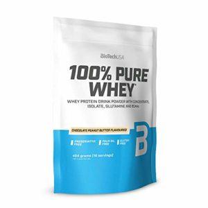 BioTechUSA 100% Pure Whey Complexe de protéines de lactosérum, avec d'acides aminés et d'édulcorants ajoutés, Sans gluten, sans huile de palm, 454 g, Chocolat-Beurre d'arachide