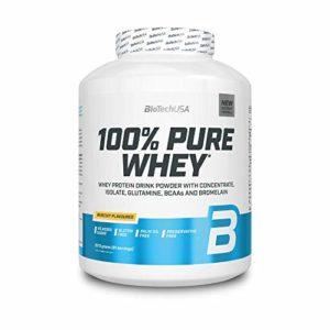 BioTechUSA 100% Pure Whey Complexe de protéines de lactosérum et de bromélaïne, avec des acides aminés, sans sucres ajoutés, sans huile de palme, 2.27 kg, Biscuit
