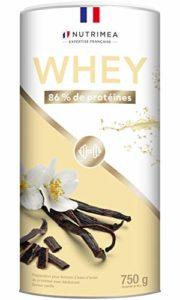 Isolat de protéine de whey – Complément protéiné en poudre saveur vanille – Pour la croissance musculaire, performance, récupération – 26g de protéine par portion – Nutrimea – Fabriqué en France