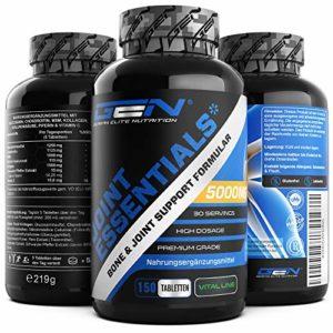 Joint Essentials – 150 Comprimés – Haute Dose avec 5000 mg par jour – Glucosamine + Chondrotin + MSM + Acide Hyaluronique + Collagène + Vitamine C – Supplément pour les articulations