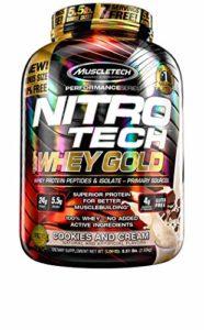 MuscleTech Nitro Tech 100% Lactosérum Gold Cookies/Crème 2,51 kg Protéine Whey